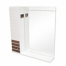 Зеркало с подсветкой и правосторонним шкафчиком Аква Родос Империал 85 (фасад венге, зебрано), 850х820 мм