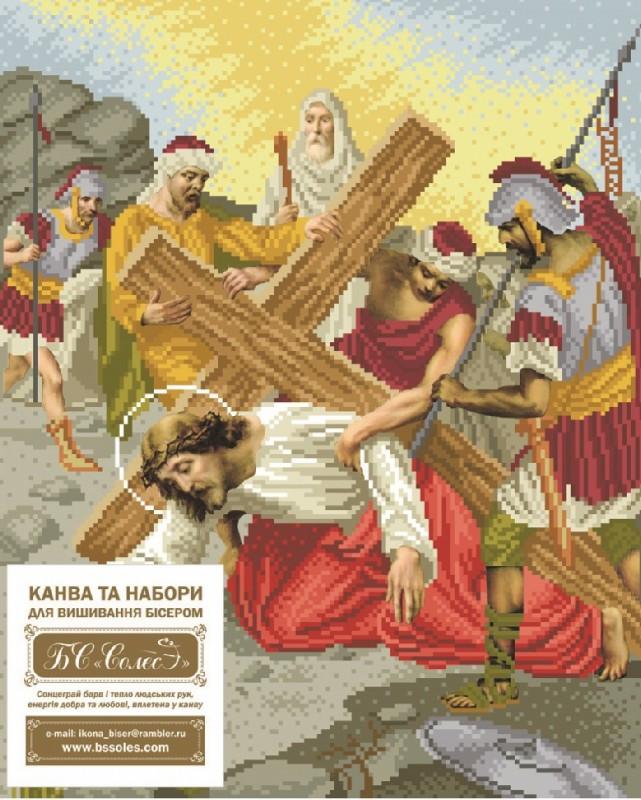 Вышивка бисером Иисус вдруг падает под тяжестью креста