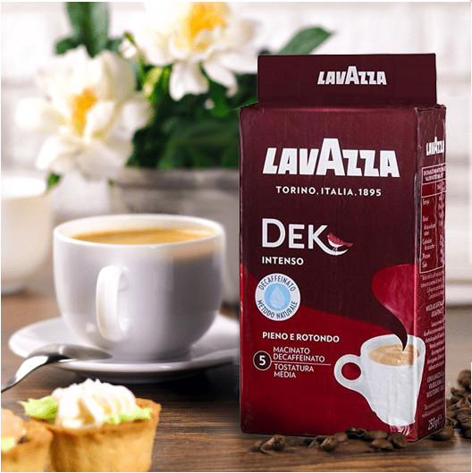 Молотый Кофе Lavazza Dek Intenso 250 г. 30% Арабика, 70% Робуста