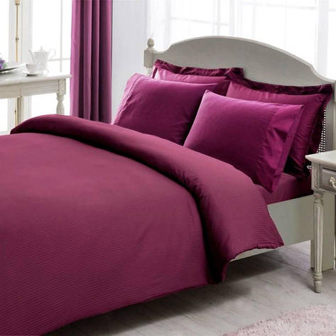 Постельное белье TAC Premium Basic Stripe murdum двуспальный - евро, фото 2