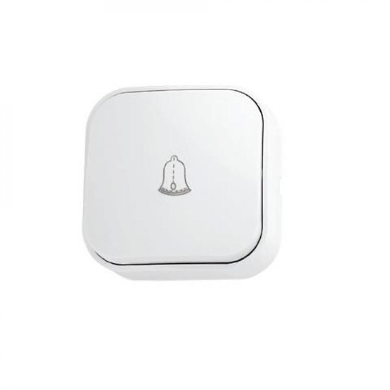 Кнопка дзвонка накладная 10А 250V IP20 белый  EVA