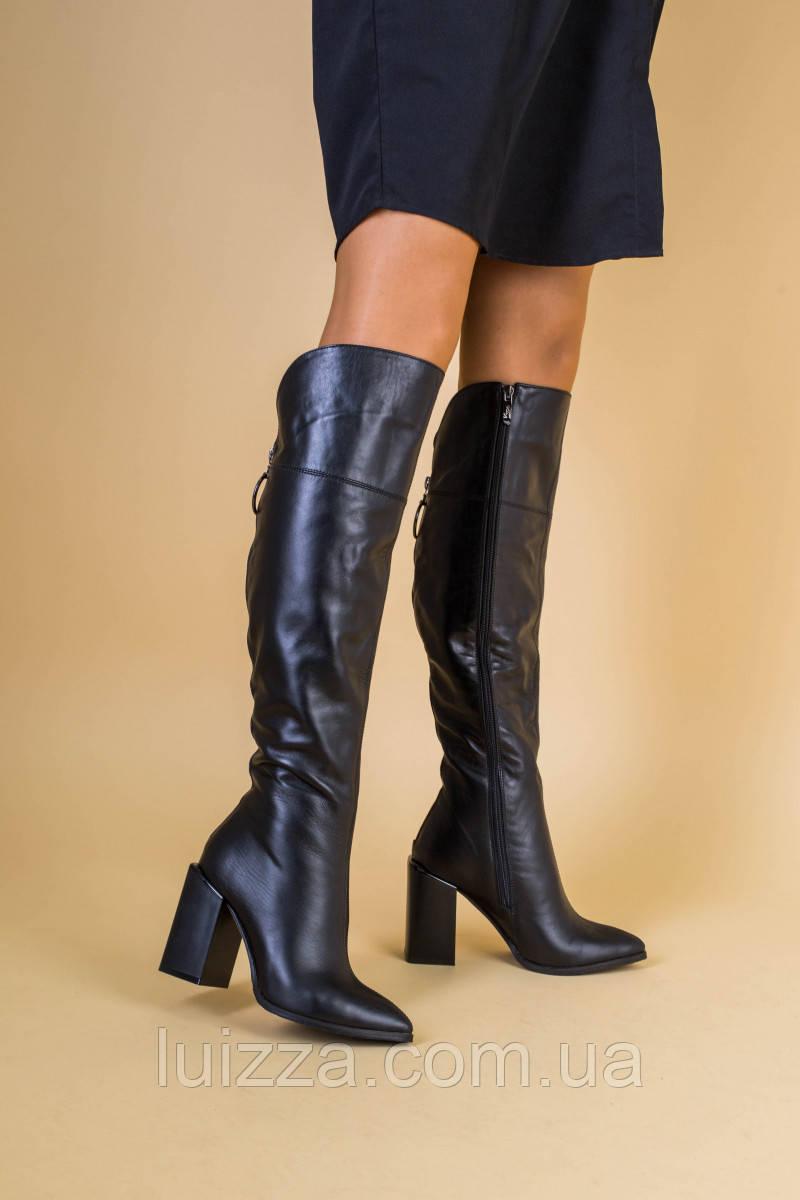 Ботфорты женские кожаные черные на каблуке демисезонные