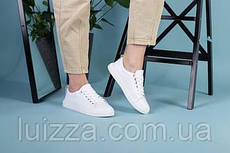 Жіночі білі шкіряні кеди на шнурках