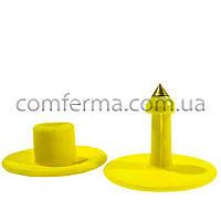 Ушная бирка (клипса) круглая 30 мм желтая (БРК-15)