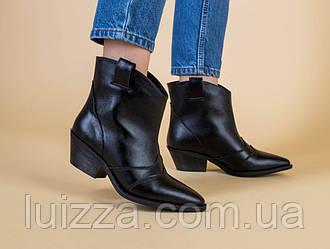 Ботинки женские кожаные черные без замка, на каблуке, демисезонные
