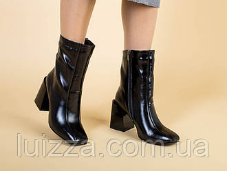 Сапоги женские кожа наплак черные на каблуке демисезонные