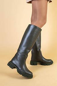 Сапоги женские кожаные цвета хаки демисезонные