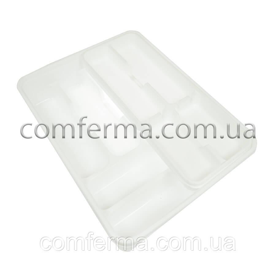 Лоток двойной для столовых приборов со вставкой (белый)