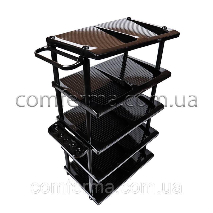 Пластикова полиця для взуття на 5 ярусів (чорна)