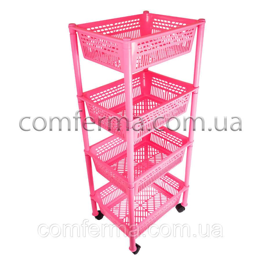 Этажерка пластиковая прямоугольная на колесиках (розовая)