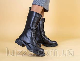 Сапоги женские кожаные черного цвета демисезонные