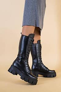 Сапоги женские кожаные черные демисезонные
