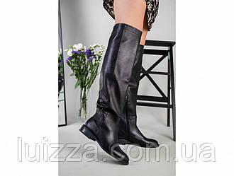 Сапоги женские кожаные черные на низком ходу демисезонные