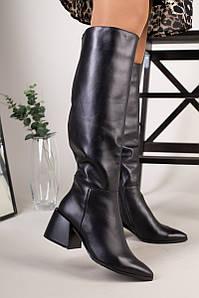 Сапоги женские кожаные черные с расклешенным каблуком