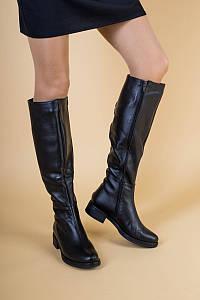 Женские черные кожаные сапоги на байке, 36
