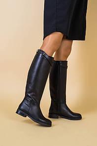 Сапоги женские кожаные черные с ремешком, без каблука, на байке