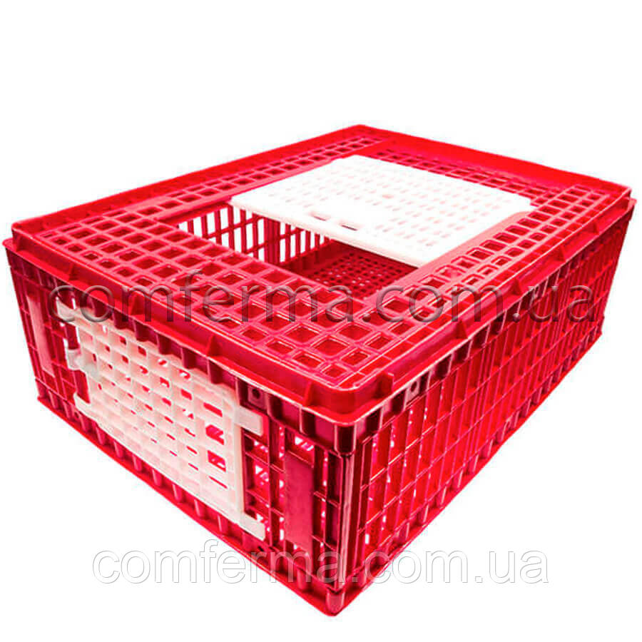 Маленький ящик для перевозки живой птицы с верхней и боковой дверцами 77х57х29