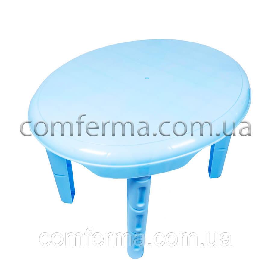 Детский пластиковый овальный стол (голубой)