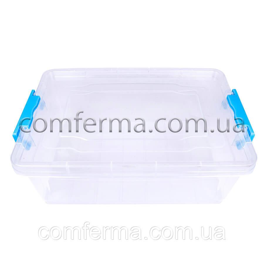 Пластиковый контейнер для продуктов прямоугольный 4 л на защелках