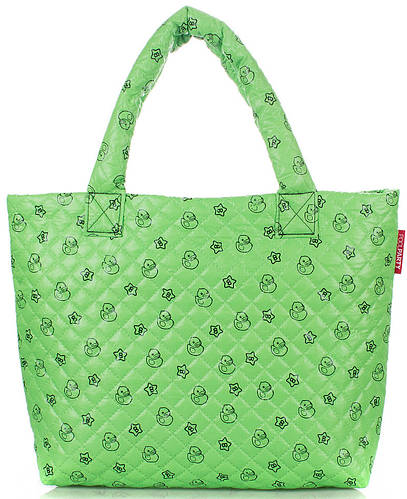 Дутая сумка с принтом POOLPARTY pp1-ducks-green зеленая