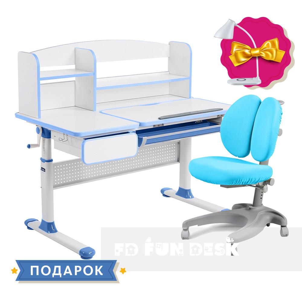 Комплект для школьника парта Cubby Rimu Blue + эргономичное кресло FunDesk Solerte Blue