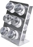 Набор для специй Kamille Mirele Silver 6 емкостей на стальной подставке