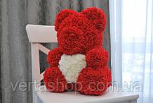 Мишка из искусственных роз в коробке 40 см (7 цветов)