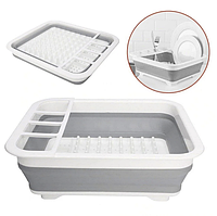 Складная сушилка для посуды силиконовая серая| Складная подставка для посуды| Кухонная подставка для посуды
