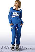 Зимний женский теплый спортивный костюм Найк индиго, фото 1