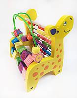 Подарок ребенку детская деревянная игрушка жираф счеты
