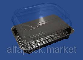 Упаковка для суши, ПС-63ДЧ+ПС-63К, 180*138*45
