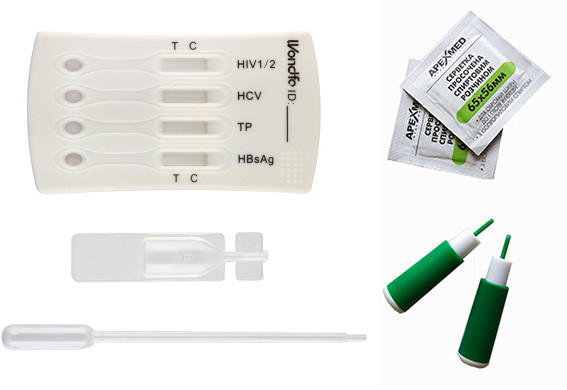 Комбінований тест на 5 інфекцій: ВІЛ 1/2, гепатиту В (HBsAg), гепатит В (HBcAb), гепатит С, сифіліс (Wondfo®)