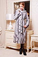 Длинная шуба Виктория серая волна из искусственного меха
