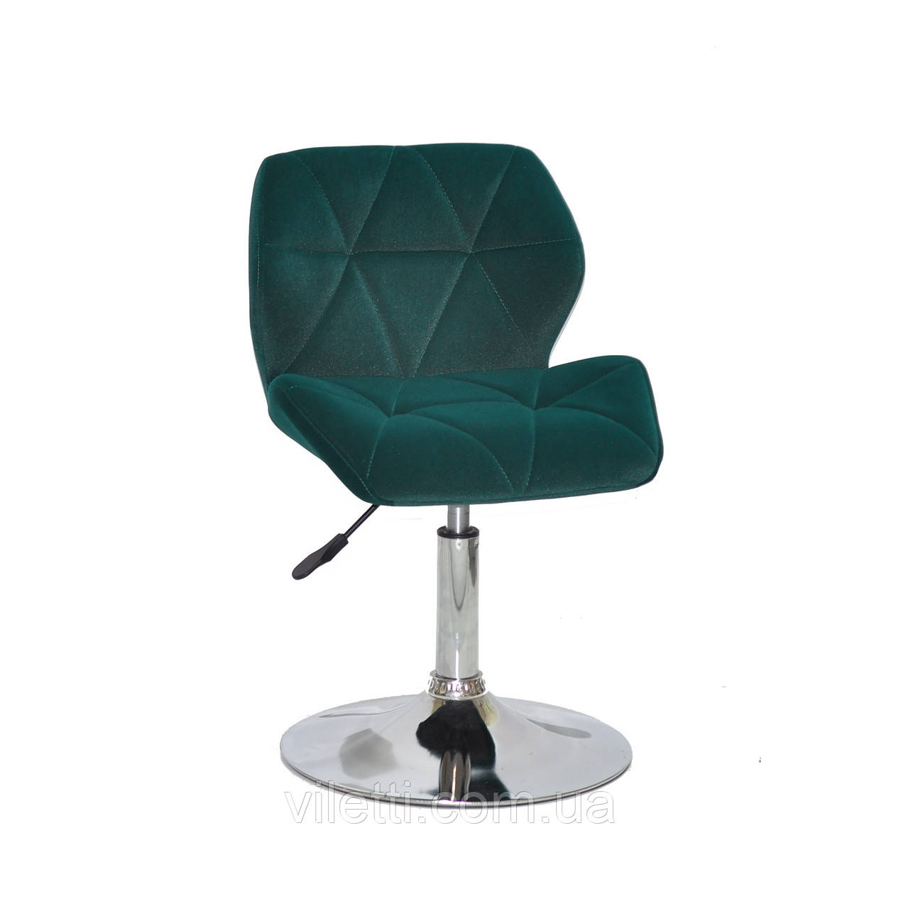 Біле крісло на млинці з еко-шкіри на чорному підставі Set BK Base