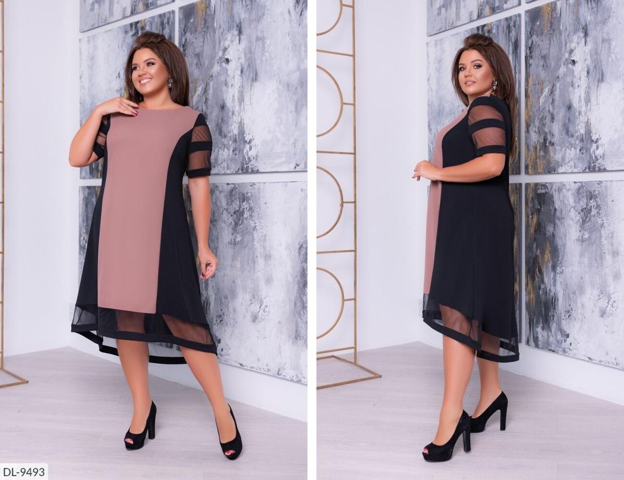 """Стильное женское платье с сеточкой ткань, """"Креп-дайвинг""""  58 размер"""