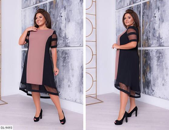 """Стильное женское платье с сеточкой ткань, """"Креп-дайвинг""""  58 размер, фото 2"""