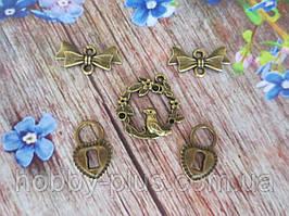 Металлический декор, набор подвесок, (цвет бронза), 5 шт