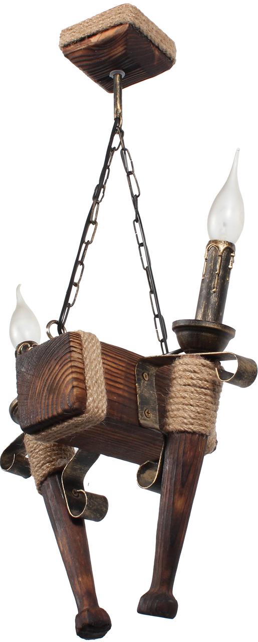 Деревянная люстра в стиле Лофт факел на 2 свечи 160722