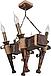 Люстра в стиле Лофт из натурального дерева на 4 факела 160724, фото 2