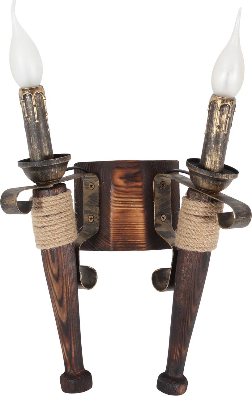 Бра факел из натурального дерева на 2 свечи 120722