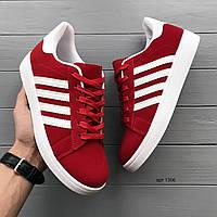 Чоловічі замшеві кросівки червоні на білій підошві, фото 1
