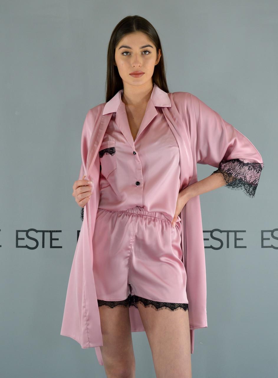 Шелковый комплект домашней одежды халат и пижама (рубашка шорты) Este розовый с кружевом .