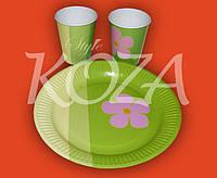 """Комплект одноразовой бумажной посуды """"Зеленый"""" 100шт/уп"""