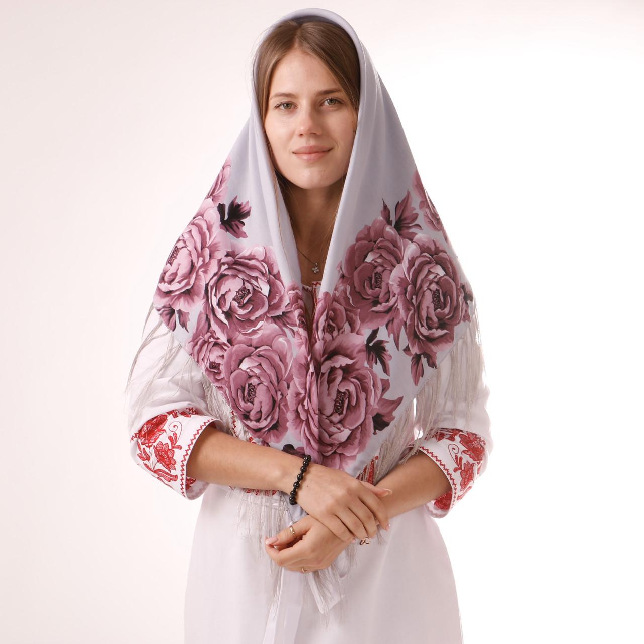 Хустка  вовняна з квітами  т100/210