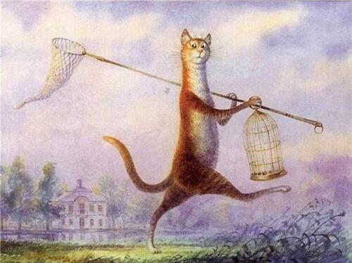 Картина по номерам 40х50 см DIY Котик с клеткой (NX 9533)