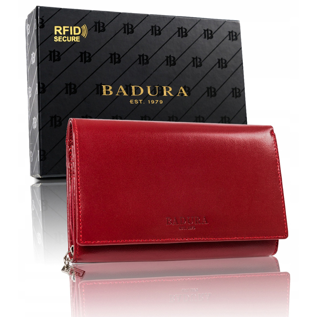 Женский кожаный кошелек-клатч большой красный Badura B-001-BSVT Red