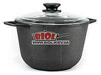 Кастрюля чугунная 4 л со стеклянной крышкой БИОЛ 0204C. Чугунная посуда Биол