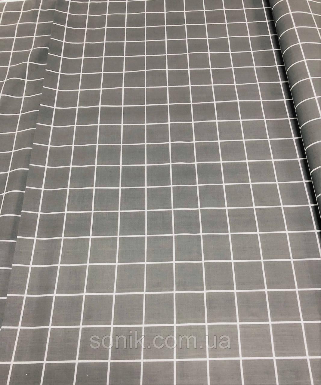 Ткань Бязь Gold Клетка серая 220 см