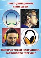Плакат по охране труда «При повышенном уровне шума используй наушники, применяй «беруши»