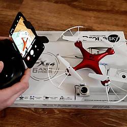 Квадрокоптер на радиоуправлении с камерой 2 Мп wi-fi, в коробке / летающий детский дрон